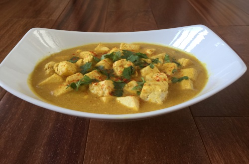 Tofu With Saffron Coconut Yogurt Curry